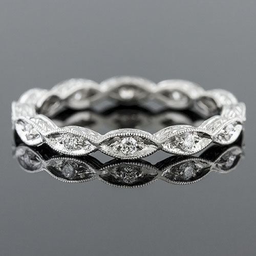 706-101P Vintage inspired Pave set diamond platinum repeating marquise eternity wedding band