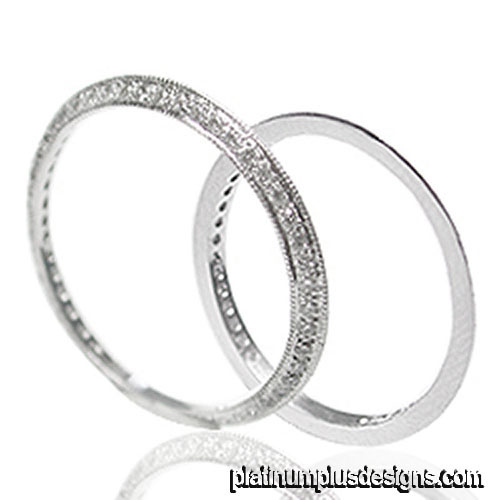 732S-101P Micro Pave thin platinum wedding guard band