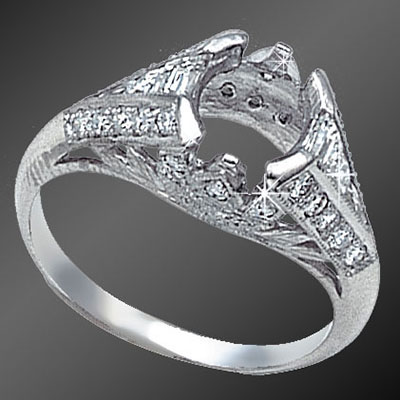 825-1 Antique reproduction French cut tapered baguette diamond and Pave set diamond platinum semi mount