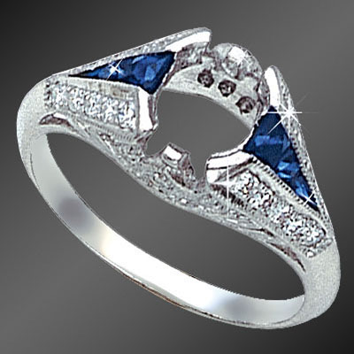 825-4 Art Deco fancy graduated French cut sapphire and round diamond platinum semi mount