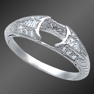 842-1 Antique reproduction French cut tapered baguette diamond and Pave set diamond platinum semi mount
