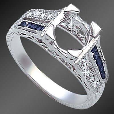 847-4 Art Deco split-shank fancy French cut square sapphire and round diamond platinum semi mount