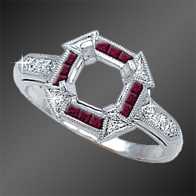 855B-3 Art Deco French cut ruby squares and fancy Trillion diamond platinum semi mount