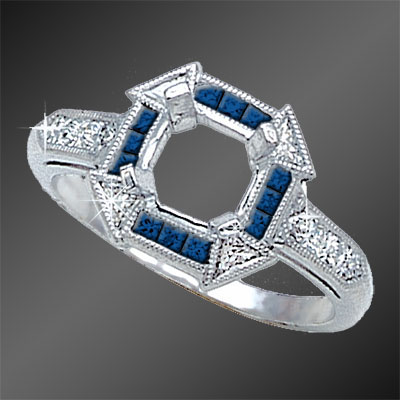 855B-4 Art Deco French cut sapphire squares and fancy Trillion diamond platinum semi mount