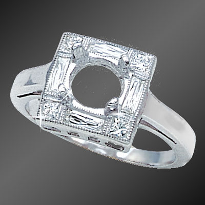 857A-1 Art Deco French cut diamond baguettes and French cut diamond squares platinum semi mount
