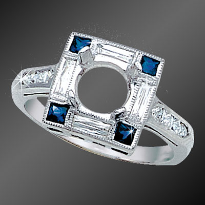 857A-4 Art Deco French cut diamond baguettes and French cut sapphire squares platinum semi mount
