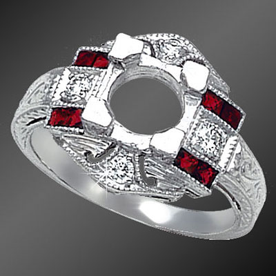858-3 Antique reproduction French cut square ruby and Pave set diamond platinum semi mount