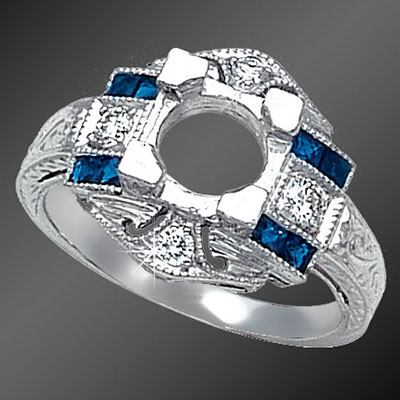 858-4 Antique reproduction French cut square sapphire and Pave set diamond platinum semi mount