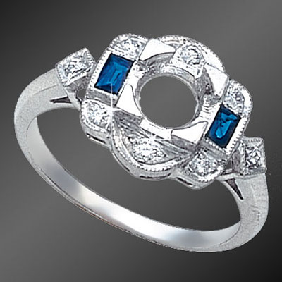 862-4 Vintage inspired French cut baguette sapphire and round diamond platinum semi mount