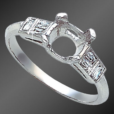 863-1 Vintage-inspired French cut baguette diamond platinum semi mount