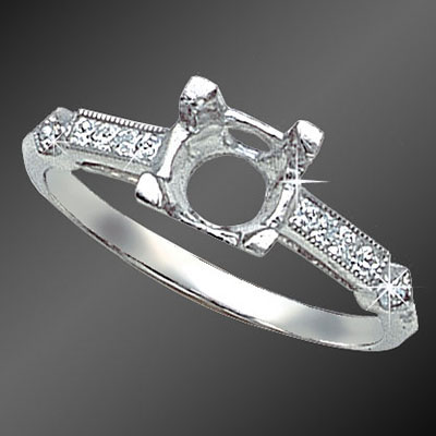 865FC-1 Vintage-inspired French cut square diamond platinum semi mount