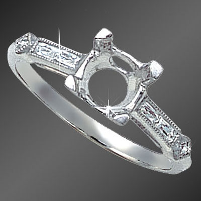 865B-1 Vintage-inspired French cut baguette diamond platinum semi mount