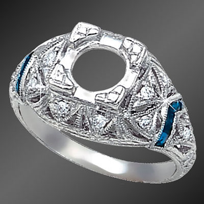 867-4 Vintage inspired French cut baguette sapphire and round diamond platinum semi mount