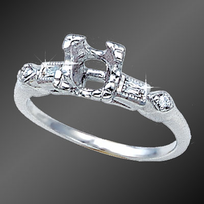 872-1 Vintage inspired French cut baguette diamond and round diamond platinum semi mount