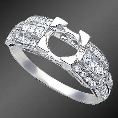 876A-1 Art Deco French cut square diamond, fancy cut diamond and Pave set diamond platinum semi mount