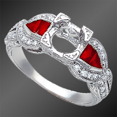 876A-3 Art Deco French cut square ruby, fancy cut ruby and Pave set diamond platinum semi mount