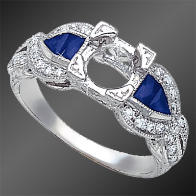 876A-4 Art Deco French cut square sapphire, fancy cut sapphire and Pave set diamond platinum semi mount
