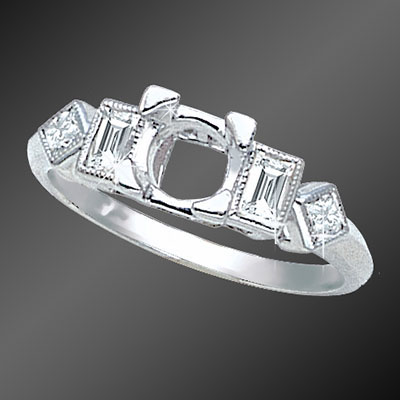 877-1 Vintage inspired French cut baguette diamond and round diamond platinum semi mount