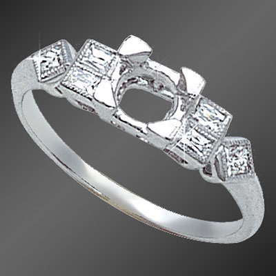 877A-1 Vintage-inspired French cut baguette diamond and French cut square diamond platinum semi mount