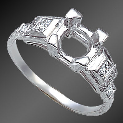 881-1 Art Deco French cut square diamond and Pave set round diamond platinum semi mount