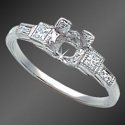 884-1 Vintage-inspired French cut baguette diamond and French cut square diamond platinum semi mount