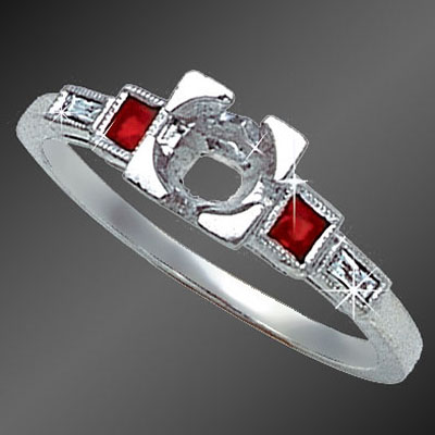 884-3 Vintage-inspired French cut square ruby and French cut baguette diamond platinum semi mount