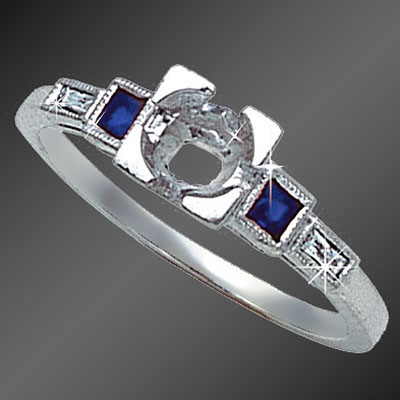 884-4 Vintage-inspired French cut square sapphire and French cut baguette diamond platinum semi mount