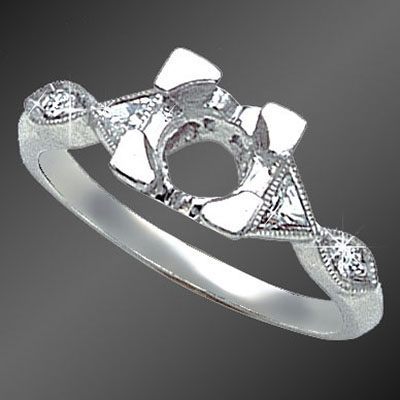 886-1 Vintage-inspired fancy Trillion diamond and Pave set round diamond platinum semi mount