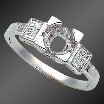 888-1 Vintage-inspired French cut baguette diamond platinum semi mount