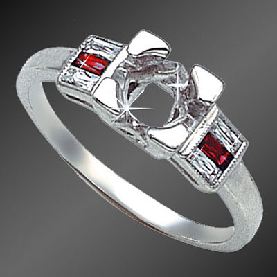 888-3 Vintage-inspired French cut baguette diamond and French cut baguette ruby platinum semi mount