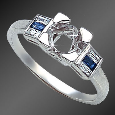 888-4 Vintage-inspired French cut baguette diamond and French cut baguette sapphire platinum semi mount