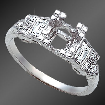 889-1 Art Deco French cut baguette diamond and Pave set round diamond platinum semi mount