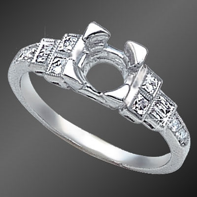 892-1 Art Deco French cut baguette diamond, French cut square diamond and round diamond platinum semi mount