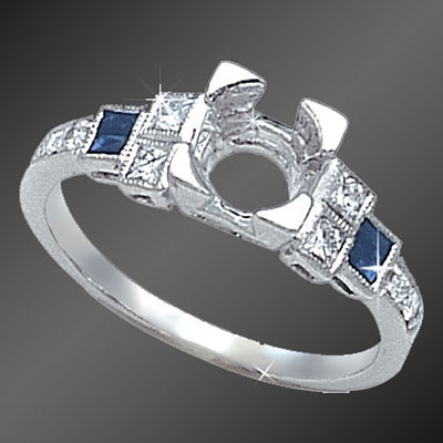 892-4 Art Deco French cut baguette sapphire, French cut square diamond and round diamond platinum semi mount