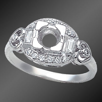 893-1 Vintage inspired French cut baguette diamond and round diamond platinum semi mount