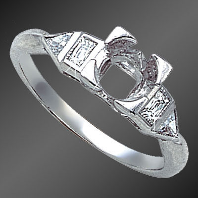 895-1 Art Deco French cut baguette diamond and fancy Trillion diamond platinum semi mount