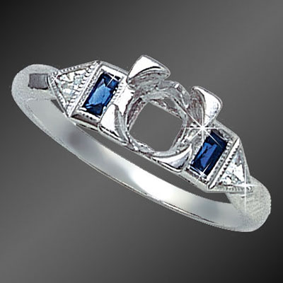 895-4 Art Deco French cut baguette diamond and fancy Trillion sapphire platinum semi mount