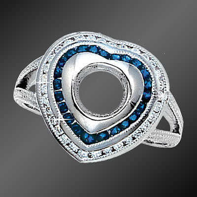 896-1 Art Deco, Heart-shaped sapphire and diamond platinum semi mount