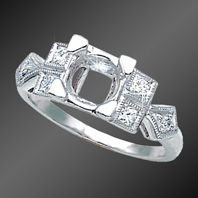 898-1 Art Deco French cut square diamond and round diamond platinum semi mount