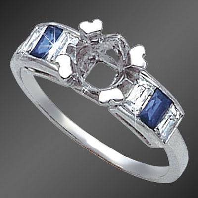 900-4 Art Deco French cut baguette diamond and French cut baguette sapphire platinum semi mount