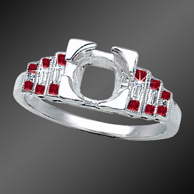 901-3 Art Deco stepped French cut square ruby and French cut baguette diamond platinum semi mount