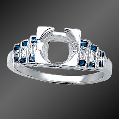901-4 Art Deco stepped French cut square sapphire and French cut baguette diamond platinum semi mount