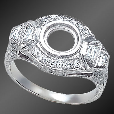 903-1 Art Deco French cut Trillion diamond and round Pave set diamond platinum semi mount