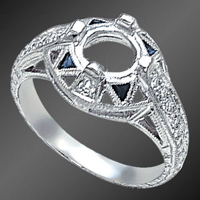 906-4 Art Deco fancy Trillion sapphire and Pave set diamond platinum semi mount