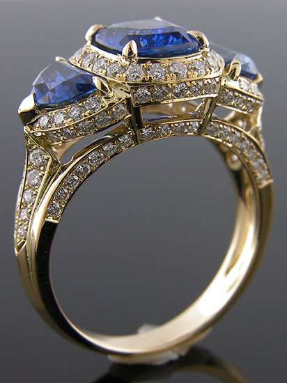 989BY-1 Antique inspired 3-stone with fancy shapes 18K yellow gold diamond engagement ring semi mount