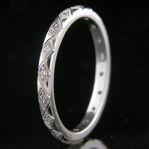 741-101P Antique inspired Pave set diamond carved eternity wedding band