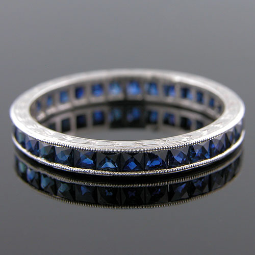 563-420 Antique inspired fancy French cut blue sapphire platinum wedding eternity band