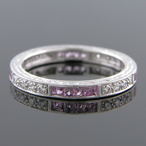 497-620 Antique inspired grouped French cut sapphire and white diamond platinum wedding eternity band
