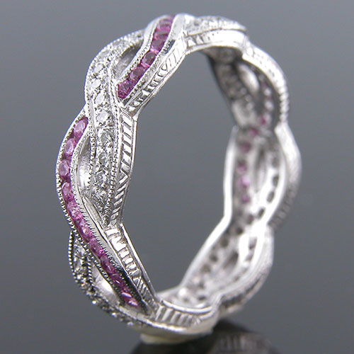 546-620 Antique inspired interwoven sapphire and Pave set white diamond platinum wedding eternity band