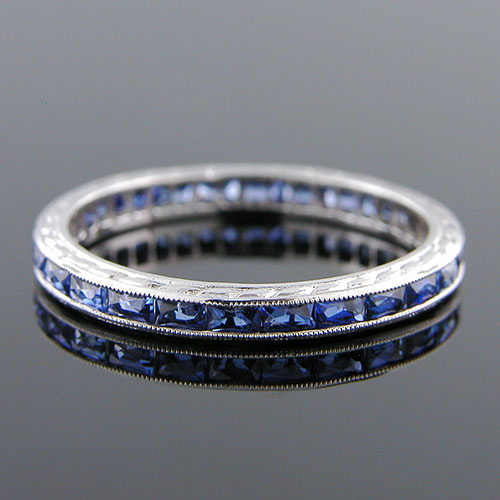544-420 Antique inspired reproduction French cut sapphire baguettes platinum wedding eternity band